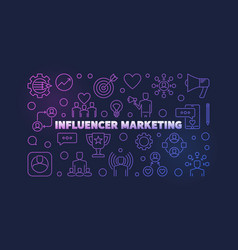 influencer marketing colored outline vector image