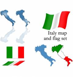 Italy map and flag set vector image
