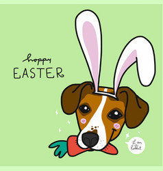 jack russell dog wearing rabbit ear and carrot vector image