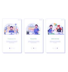 Job search and recruitment process ui screens vector