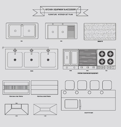Kitchenvabinet furniture outline icon vector image