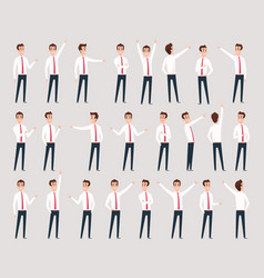 male pointing businessman characters standing and vector image