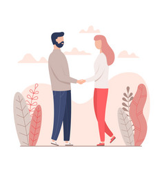 man and woman holding hands for valentines day vector image