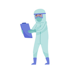 Man in protective suit and mask carrying clip vector
