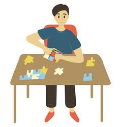 Man solving puzzles intellectual games vector