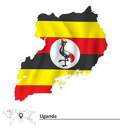 Map of Uganda with flag vector image