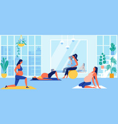Maternity group fitness class for pregnant women vector