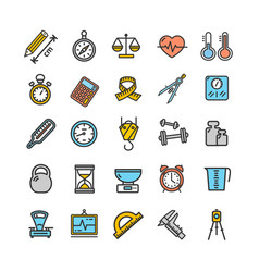 measurement signs color thin line icon set vector image