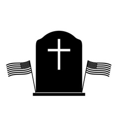 memorial day tombstone with two us flags black vector image