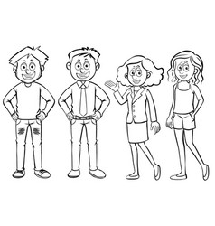 men and women characters on white background vector image