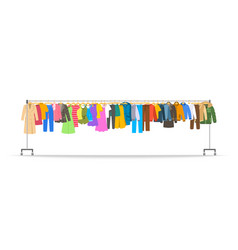 men and women clothes on long rolling hanger rack vector image