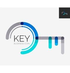 Minimal line design logo key icon vector