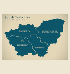 Modern map - south yorkshire metropolitan county vector
