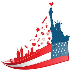 new york city symbol on USA flag vector image