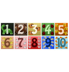 numbers with cute animals vector image