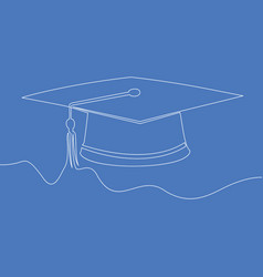 one line drawing graduation cap concept vector image