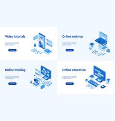 online education 3d blue templates vector image