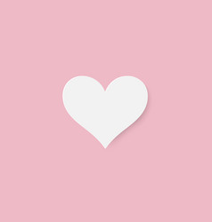 paper cut white heart on pink background vector image