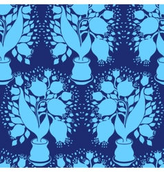 Pattern with stylize silhouettes tulips vector