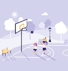 people playing on basketball field vector image