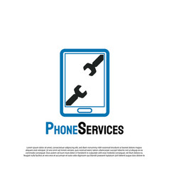 Phone service logo with wrench concept future vector