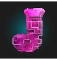 Pink plastic figure j vector