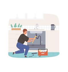 Plumber fixing and repairing plumbing workman vector