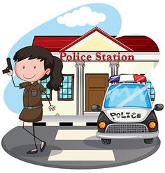 Police station vector image