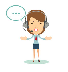 portrait of smiling customer support female phone vector image