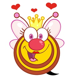 Queen Bee Cartoon Mascot Character With Hearts vector image