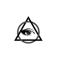 sacred masonic symbol all seeing eye logo vector image