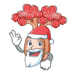 Santa bottle shaped tree on a cartoon vector