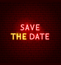 save date neon sign vector image