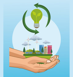 Save world environmental poster with hands vector