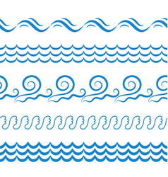 Sea water waves seamless borders elements or vector