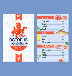 Seafood bar menu flat poster vector