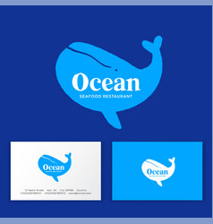 Seafood restaurant logo silhouette blue whale vector