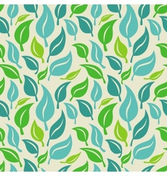 Seamless background with green and blue leaves vector