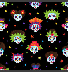 seamless pattern with colorful skulls and stars vector image