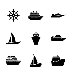 Set Icons ships vector