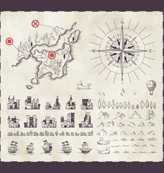 Set in medieval cartography vector