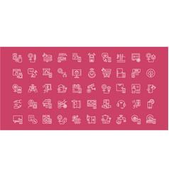 Set line icons intelligent building vector