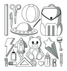 set of doodle icons vector image