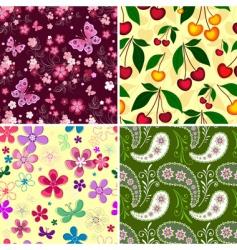 set seamless spring patterns vector image