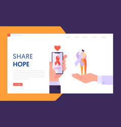 Share hope landing page donate healthy vector