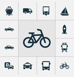 shipment icons set collection of yacht streetcar vector image