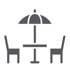 street cafe glyph icon table and chair umbrella vector image