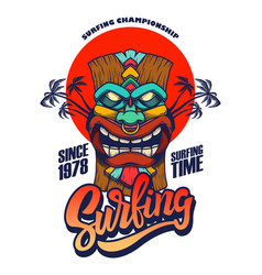 surfing emblem template with tiki idol design vector image