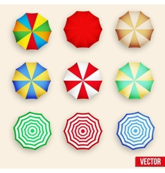 Symbol set of a parasol top view vector image