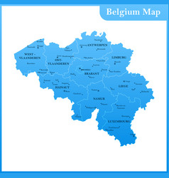 the detailed map of the belgium vector image